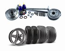 Mustang SVE 5 Lug Conversion w/ Drag Wheel & Tire Kit Dark Stainless 28 Spline (87-93)