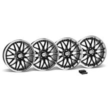 Mustang SVE Series 3 Wheel & Lug Nut Kit - 20x8.5/10 Black w/ Mirror Lip (15-16)