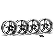 Mustang SVE Series 2 Wheel & Lug Nut Kit - 20X8.5/10 Black w/ Mirror Lip (15-16)