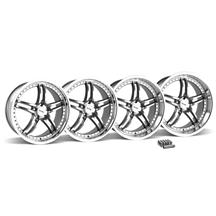 Mustang SVE Series 2 Wheel & Lug Nut Kit - 20X8.5/10 Gunmetal w/ Mirror Lip (15-16)