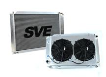 79-93 MUSTANG ALUMINUM RADIATOR & FAN ASSEMBLY FOR MANUAL TRANSMISSION.