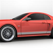 Mustang Rocker Stripes Silver (99-04)