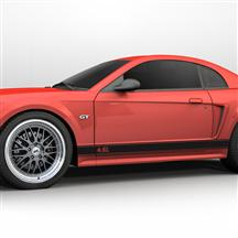 Mustang Rocker Stripes, 4.6 Logo Gloss Black (99-04)