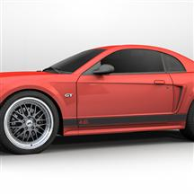 Mustang Rocker Stripes, 4.6 Logo Matte Black (99-04)