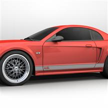 Mustang Rocker Stripes, 4.6 Logo Silver (99-04)