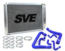 86-93 MUSTANG 5.0L ALUMINUM RADIATOR KIT WITH BLUE SILICONE HOSE KIT FOR MANUAL TRANSMISSION