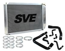 86-93 MUSTANG 5.0L ALUMINUM RADIATOR KIT WITH BLACK SILICONE HOSE KIT FOR MANUAL TRANSMISSION
