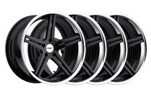 Mustang TSW Mirabeau Wheel Kit - 19x8.5, 9.5 Gloss Black w/ Chrome Lip (05-14)