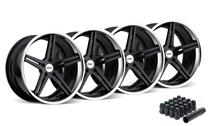 Mustang TSW Mirabeau Wheel & Lug Nut Kit - 20x8.5/10 Gloss Black w/ Chrome Lip (2015)