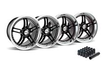 Mustang SVE Series 2 Wheel & Lug Nut Kit - 19x9/10 Black w/ Polished Lip (2015)