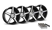 Mustang KMC 685 District Wheel & Lug Nut Kit - 20x8.5/10.5 Black w/ Machined Face (2015)