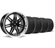 Mustang Anniversary Staggered Wheel & Tire Kit - 17x9/10 Black  (79-93)
