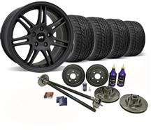 Mustang SVE 5-Lug Conversion Wheel & Tire Kit - 17x9 Flat Black (87-93)