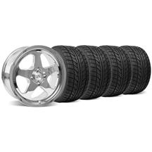 Mustang SC Staggered Wheel & Tire Kit - 17x8/10 Chrome (79-93)