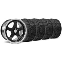 Mustang SC Staggered Wheel & Tire Kit - 17x8/10 Black (79-93)