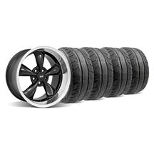 Mustang Staggered Bullitt Wheel & Tire Kit - 18x9/10 Black W/ Machined Lip (94-04)