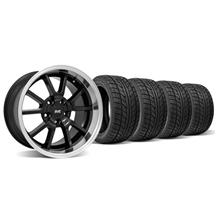 Mustang Staggered FR500 Wheel & Tire Kit - 18x9/10 Black (94-04)