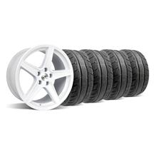 Mustang Staggered Saleen Wheel & Tire Kit - 18x9/10 White (94-04)