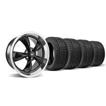 Mustang Staggered Bullitt Wheel & Tire Kit - 20x8.5/10 Black w/ Mirror Lip (05-14)