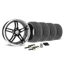 Mustang SVE Series 2 Wheel & Tire Kit - 20X8.5/10 Black w/ Mirror Lip (15-16)