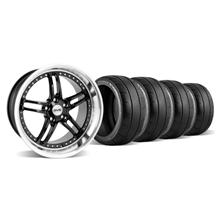 Mustang SVE Series 2 Wheel & Tire Kit - 18x9/10 Black w/ Polished Lip (94-04)