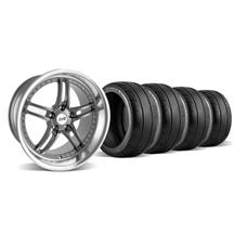 Mustang SVE Series 2 Wheel & Tire Kit - 18x9/10 Gun Metal w/ Polished Lip (94-04)