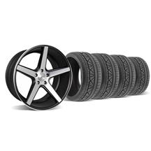 Mustang KMC 685 District Wheel & Tire Kit - 20x8.5/10.5  Black w/ Machined Face (05-14)