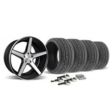 Mustang KMC 685 District Wheel & Tire Kit - 20x8.5/10.5 Black w/ Machined Face (2015)