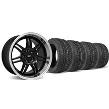 Mustang SVE Anniversary Staggered Wheel & Tire Kit Black - 17x9/10 (94-04)