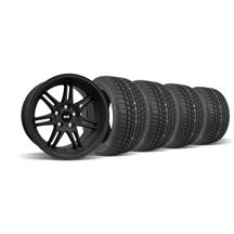 Mustang SVE Anniversary Staggered Wheel & Tire Kit Flat Black - 17x9/10 (94-04)