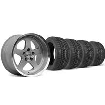 Mustang SC Staggered Wheel & Tire Kit - 17x9/10 Silver (94-04)