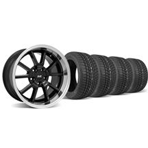 Mustang Staggered FR500 Wheel & Tire Kit - 17x9/10.5 Black (94-04)