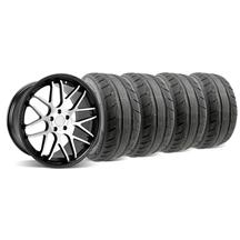 Mustang Downforce Wheel & Tire Kit - 20x8.5/10 Black w/ Machine Face (05-14)